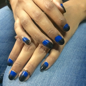Blue to black gradient for the girl who only ever wears black nail polish. ;)